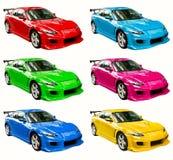 Färgrika bilar Arkivbild