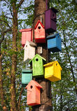 färgrika birdhouses Några stycken Royaltyfria Foton