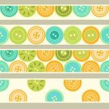 Färgrika blå gräsplan- och apelsinknappar på vita sömlösa gränser ställde in, vektorn Arkivfoton