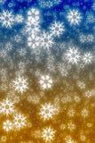 Färgrika blåa och gula snowflakes Royaltyfria Foton