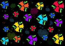 Färgrika blåklockor på en svart bakgrund Royaltyfria Foton