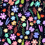 färgrika blommor mönsan seamless Royaltyfri Bild