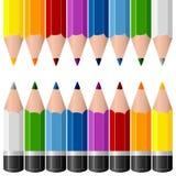 Färgrika blyertspennagränser Arkivfoton