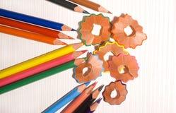 färgrika blyertspennor Arkivfoton