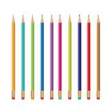 Färgrika blyertspennor design, blyertspennavektor Arkivbilder
