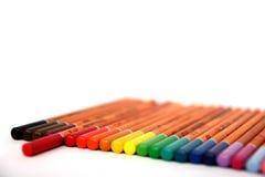 färgrika blyertspennor för samling Arkivfoton