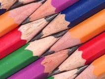 färgrika blyertspennor ii Arkivfoto