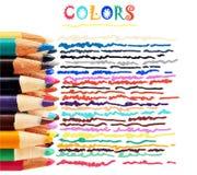 Färgrika blyertspennor och klotter Arkivbilder