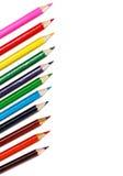 Färgrika blyertspennor som isoleras på vit Royaltyfria Foton