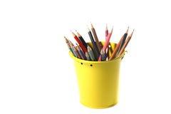 Färgrika blyertspennor som isoleras på vit bakgrund Royaltyfria Bilder