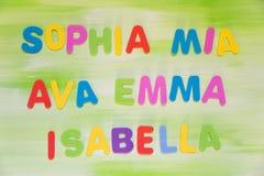 Färgrika bokstäver, favorit- jungfru- namn Royaltyfri Fotografi