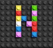 Färgrika bokstäver N av alfabetet från byggnadslegotegelstenar på svart legotegelstenbakgrund legobakgrund bokstäver 3d vektor illustrationer