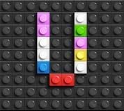 Färgrika bokstäver V av alfabetet från byggnadslegotegelstenar på svart legotegelstenbakgrund legobakgrund bokstäver 3d vektor illustrationer