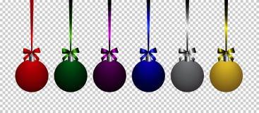 Färgrika bollar för jul på genomskinlig vektorbakgrund stock illustrationer