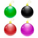 Färgrika bollar för vektorjul Arkivfoton