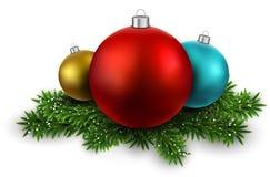 Färgrika bollar på filialer för julhelgdagsafton. vektor illustrationer