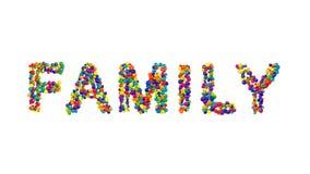 Färgrika bollar som bildar ordfamiljen Arkivfoto