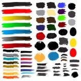 Färgrika borstefärgstänk och slaglängder vektor illustrationer