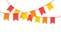 Färgrika buntingpartiflaggor på vit bakgrund Arkivfoto