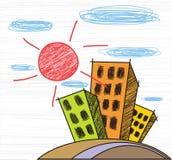 färgrika byggnader vektor illustrationer