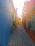 färgrika byggnader av ön Burano Venedig Italien Royaltyfri Bild