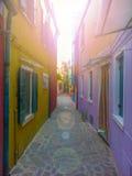 färgrika byggnader av ön Burano Venedig Italien Arkivfoto