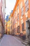 Färgrika byggnader i Gamla Stan Stockholm Royaltyfri Fotografi