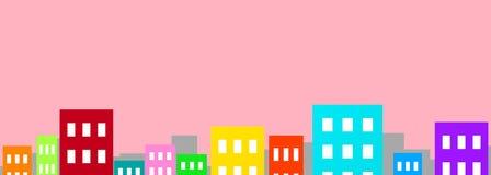 Färgrika byggnader på rosa utrymme för kopia för illustration för bakgrundscityscape 3D vektor illustrationer