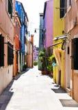 Färgrika byggnadsfasader Arkivbild