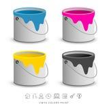 Färgrika cans för målarfärg med affärssymbolsbegrepp royaltyfri illustrationer
