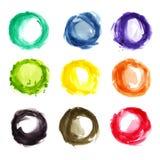 Färgrika cirklar för vattenfärg Arkivfoto