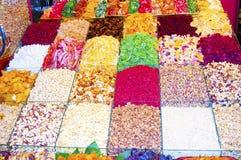 Färgrika Confections och torkade frukter arkivfoto