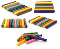 färgrika crayons för collage Royaltyfria Bilder