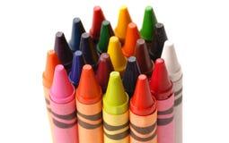 färgrika crayons för grupp Arkivbild