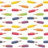 Färgrika crayons i horisontalrader Arkivfoto