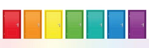 färgrika dörrar Arkivbild