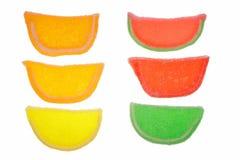 färgrika danade frukt göra gelé av gammala skivor för godisar Arkivbild