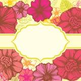 färgrika dekorativa blom- blommor för kort Royaltyfri Bild
