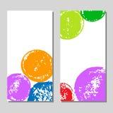 Färgrika den drog grungehanden cirklar kortuppsättningen på vit, vektor Fotografering för Bildbyråer