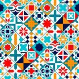 Färgrika diagonala geometriska tegelplattor sömlös modell, vektor Arkivbild