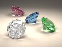 färgrika diamanter vektor illustrationer