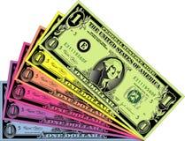 färgrika dollar Arkivbild