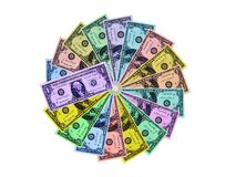färgrika dollar för cirkel royaltyfria foton
