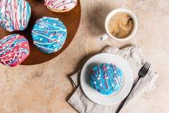 Färgrika donuts för 4th Juli Fotografering för Bildbyråer