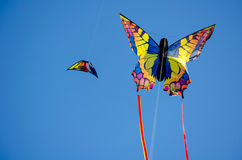 Färgrika drakar i himlen Arkivfoton