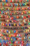 Färgrika easter ägg i rader för bakgrund Royaltyfria Foton