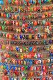 Färgrika easter ägg i rader för bakgrund Fotografering för Bildbyråer