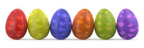 färgrika easter ägg isolerade white Arkivbild