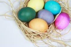 Färgrika easter ägg som slås in i bast, bygga bo på vit bakgrund Arkivbilder