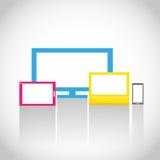 Färgrika elektroniska apparater Arkivfoto